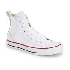 Converse Chuck Taylor All Star 'Chelsee' High Top Sneaker ($75) ❤ liked on Polyvore featuring shoes, sneakers, white leather, white shoes, white leather high tops, white sneakers, leather high tops and lace up sneakers