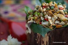 A marvelous Luang Prabang style fish salad recipe (Koi Pla), which is very easy to prepare. Even though it looks simple, its flavors are complex and clever.