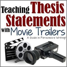 In persuasive writing, many students have trouble writing a clear thesis statement on what their essay is truly about. In the lesson Teaching Thesis Statements with Movie Trailers, students get to break down what is actually involved in a thesis statement Argumentative Writing, Persuasive Writing, Teaching Writing, Writing Activities, Essay Writing, Teaching English, Writing Rubrics, Paragraph Writing, Opinion Writing