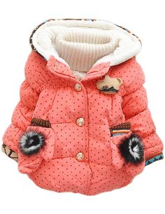 Baby Girls Toddler 2 Small Gloves Small Dots Pointy Hat Warm Hoodies Snowsuit Outwear (XL(1-2Years), Red)