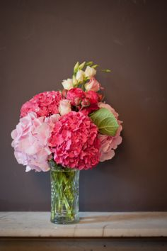 Fuchsia and baby pink hydrangea bouquet . s thank you for the flowers, you KNOW they are one of my favs & the color is perfect too! Pink Hydrangea Bouquet, Flower Bouquet Wedding, Floral Wedding, Wedding Colors, Bouquet Flowers, Wedding Ideas, Table Flowers, Deco Table, Flower Centerpieces