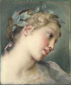 A Muse, by Rosalba Carriera, Italian, about 1725, pastel on laid blue paper