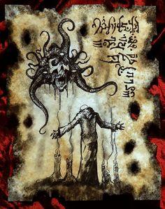 Items similar to CHAOS SORCERER cthulhu larp Necronomicon Fragment occult magick on Etsy Hp Lovecraft, Evil Dead Book, Dark Books, Lovecraftian Horror, Satanic Art, Dark Artwork, Scary Art, Call Of Cthulhu, Occult Art