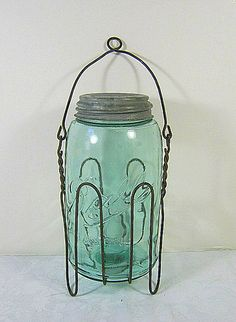 Antique 1900s GREEN Ball Mason Canning Jar by LavenderGardenCottage etsy