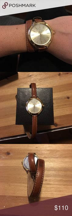 Michael Kors brown leather wrap watch! Michael Kors gold watch with leather band that wraps around - in good but used condition. Very light weight, trendy and super cute! Michael Kors Accessories Watches