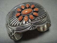 Museum Vintage Navajo 'Satellite Coral' Silver Concho Silver Jewellery Indian, Navajo Jewelry, Ethnic Jewelry, Silver Jewelry, Unique Jewelry, Coral Turquoise, Turquoise Jewelry, Silver Cuff, Silver Rings
