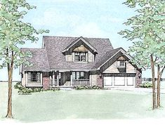 1869 sq ft Traditional Country style w/ see-thru fireplace between living and eating area