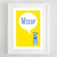 Woof Dog Print Dog Art Dog Poster Terrier Print by ForeverFoxed, £18.50