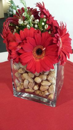 table decorations baseball theme | Baseball Themed Wedding Cocktail Table Centerpiece! #baseball #red # ...