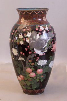 Japanese Cloisonne vase with birds and flowers 1880