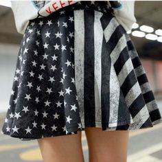 Black and White American Flag Distressed Skirt