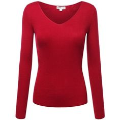 FPT Womens Long Sleeve Ribbed V-Neck Sweater ($20) ❤ liked on Polyvore featuring tops, sweaters, ribbed top, v neck sweater, red v neck top, vneck tops and ribbed sweater
