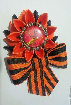 Галстуки, бабочки ручной работы. Ярмарка Мастеров - ручная работа. Купить Брошки к 9 мая. Handmade. Комбинированный, репсовая лента