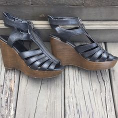 Strappy Zipper Wedges • Good, used condition • 4 in heel height make these wedges very comfortable! Xhilaration Shoes Wedges