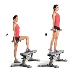 Superset 1A Dumbbell Step-Up Hold a pair of dumbbells and stand facing a bench or step. Put your left foot on the bench (A), push down through your left heel, and lift your right leg up (B). Return to start. That's 1 rep. Do 8 reps leading with your left leg, then 8 reps leading with your right leg.