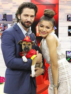 Star Tracks: Thursday, April 23, 2015 | FIRE ALARM | I don't think we could pack in any more cuteness if we tried! Game of Thrones star Michiel Huisman and Zendaya pose with a furry friend on Good Morning America in N.Y.C. on Wednesday.