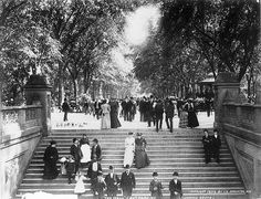 1894 promenaders in Central Park ended up at the stunning Bethesda Terrace -- Library of Congress