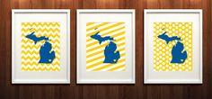 Ann Arbor, Michigan State Set of Three Giclée Prints - 8x10 -  Yellow and Blue University Prints