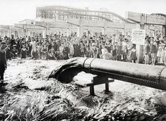 A 20-inch Discharge pipe, near the foot of West 8th Street, Coney Island, on September 1, 1922. (Edward E. Rutter/Courtesy NYC Municipal Archives) #
