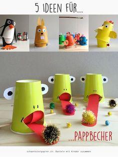 5 Ideen für Pappbecher, paper cups, diy, tutorials, schaeresteipapier