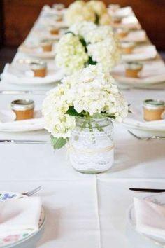 Centros de mesa para una boda vintage: Fotos de los mejores - Centro de mesa con flores blancas
