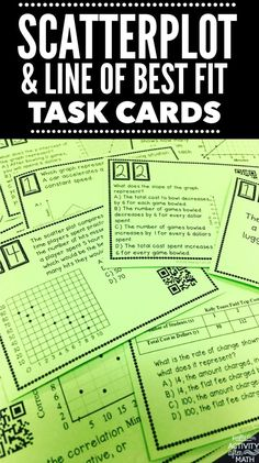 Scatterplot and Line of Best Fit Task Cards. Students will interpret bivariate data to investigate patterns between two quantities. Interpret slope and y-intercept Math Teacher, Math Classroom, Math 8, Classroom Ideas, Math Fractions, Classroom Displays, Teacher Stuff, Line Of Best Fit, 8th Grade Math