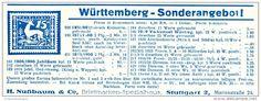 Original-Werbung/ Anzeige 1926 - WÜRTTEMBERG / BRIEFMARKEN NUSSBAUM - STUTTGART - ca. 140 x 50 mm