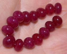 15 New African Ruby Gemstone Beads, 7-8mm, #A8780