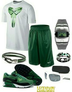 Men's fashion green nike outfit. Not really into sportswear but the accessories are cool. Lol