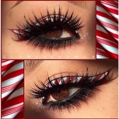 Candy Cane eyeliner #makeup | Eye Makeup | Pinterest | Candy Canes,... ❤ liked on Polyvore featuring beauty products, makeup, eye makeup, eyeliner, beauty, frames & background and glitter