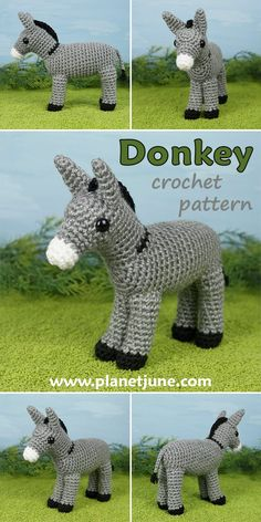 Crochet an adorably realistic amigurumi-style donkey with this pattern. From his big eyes and long ears to his tasseled tail, how can you resist?