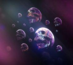 Skulls - blue, skulls, pink, abstract, beautiful, beauty, purple, art, black