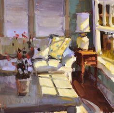 Cozy Corner - Anne Blair Brown American, Ol on linen,16 x 16 cm.