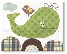Whale nursery art  brown green ocean sea  bird by GalerieAnais