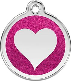Red Dingo Stainless Steel with Glitter Pet ID Tag  Heart hot pink medium * You can get additional details at the image link.