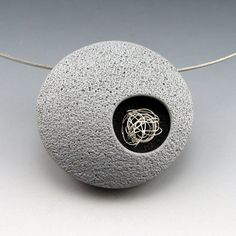 Gray Orbit - contemporary polymer pendant with metal detail on magnet choker neckwire. $65.00, via Etsy.