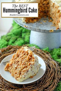 The BEST Hummingbird Cake! Think carrot cake flavors meet banana bread in a moist, 'never disappoints' cake. It's going to become your favorite! Gluten-free option. #cake #hummingbirdcake #recipe #dessert #carrotcake #bananabread #southern