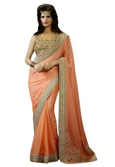 #Orange #Chiffon #Saree With #Blouse.  #Orange #Chiffon #Saree #designed with #Heavy #Zari,#Resham Embroidery With #Stone #Work And #Lace Border.  INR: 3,780.00  With Exclusive Discounts  Grab: http://tinyurl.com/jugr3nn