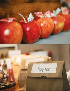 VINTAGE Back to School Party Ideas: apples, backpack activity, type writer & globe decorations, flashcards, a pinwheel cake & a ruler wreath!