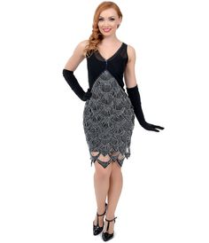 pCnikOFp6i Iconic by UV Exclusive 1920s Style Black Blue Fishscale Beaded Follies Flapper Dress.jpg  (1095×1275) Vintage Flapper Dress 30ca3eb78