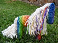 Rainbow Knitted Horse