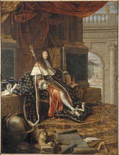 Louis XIV « protecteur de l'Académie Royale de Peinture et de Sculpture », par Henri Testelin, commandée en 1668