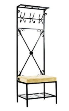 Black Metal Hall Tree Entry Coat Rack Bench Entryway Seat Storage Shelf Modern | eBay