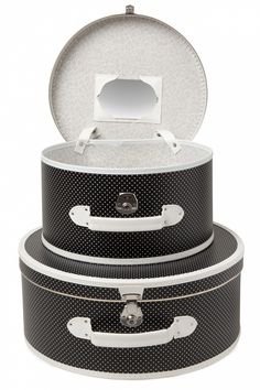 Vintage Vicky - To Paris and back! Set 50s Vintage Hat Cases Black with white Polkadots