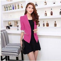 Korean coats women 2013 autumn office uniform short sleeve slim thin casual career blazer white black yellow rose red blue pink