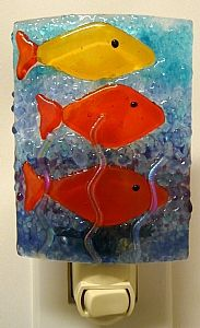 fe28d453d5d2b Fish Night Light by Laura Johnson Fused Glass ~ 5 x 2 3 4 Fused