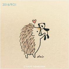 "1,611 mentions J'aime, 14 commentaires - なみはりねずみ (@namiharinezumi) sur Instagram : ""977 ちゅ♡ Kiss♡ #illustration #hedgehog #イラスト #ハリネズミ #なみはりねずみ #illustagram"""