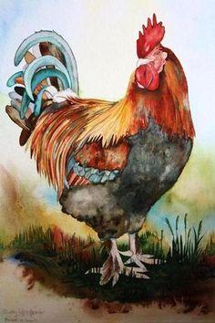 Watercolor Bird, Watercolor Animals, Watercolor Paintings, Watercolors, Rooster Painting, Rooster Art, Chicken Painting, Chicken Art, Arte Do Galo