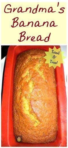 Grandma's Banana Bread. Easy recipe with no fuss or frills and gives you great r… Grandma's Banana Bread. Easy recipe with no fuss or frills and gives you great results every time! Easy Bread Recipes, Banana Bread Recipes, Sweet Recipes, Cooking Recipes, Easy Banana Bread Recipe No Baking Soda, Unique Banana Bread Recipe, Simple Banana Bread, 3 Ingredient Banana Bread Recipe, Quick Bread