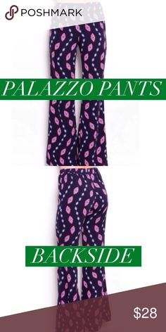 6f7d3401001e blue printed palazzo pants Adorable style and comfort. These are pull on  pants that have
